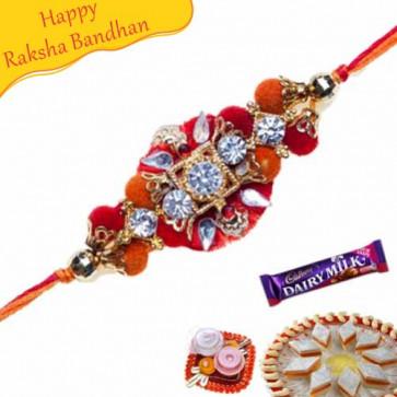 Buy Velvet Diamond Zardosi Rakhi Online on Rakshabandhan with India, worldwide delivery options