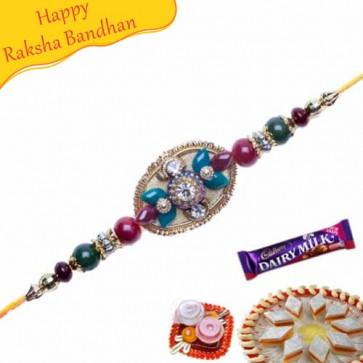 Buy Red And Green Pearls American Diamond Hoops Rakhi Online on Rakshabandhan with India, worldwide delivery options