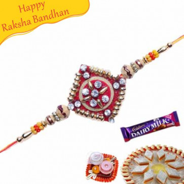 Buy American Diamond with sandalwood crystal Rakhi Online on Rakshabandhan with India, worldwide delivery options