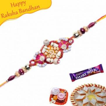 Buy Om Beads Sandlewood Diamond Rakhi Online on Rakshabandhan with India, worldwide delivery options
