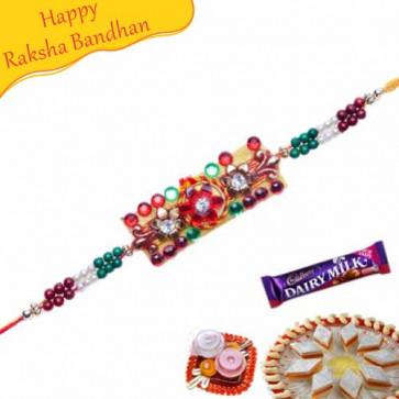 Buy MULTI COLOUR PEARLS KUNDAN RAKHI Online on Rakshabandhan with India, worldwide delivery options
