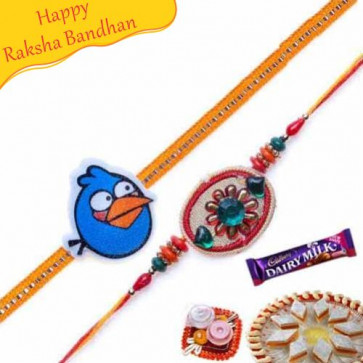 Buy Kundan Rakhi with Kids pair Online on Rakshabandhan with India, worldwide delivery options