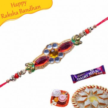 Buy American Diamond Rings Beads And Pearls Beads Rakhi Online on Rakshabandhan with India, worldwide delivery options