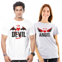 Angel - Devil Couple Cotton Tshirt Combo Buy Online