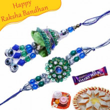Blue Green Beads Bhaiya Bhabhi Rakhi