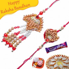 Wooden Beads And Pearl Bhaiya Bhabhi Pair Rakhi