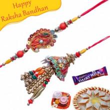 Multicolor Beads Keri Design Bhaiya Bhabhi Rakhi