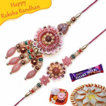 Wooden Beads Thread Bhaiya Bhabhi Rakhi