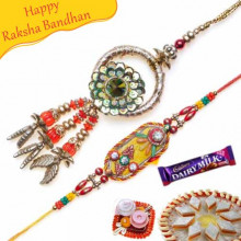 Zardoshi Work Diamond And Copper Beds Bhaiya Bhabhi Rakhi