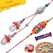 Conch With Colorfull Beads Bhaiya Bhabhi Rakhi