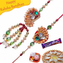 Wooden Beads Multi Color Bhaiya Bhabhi Rakhi