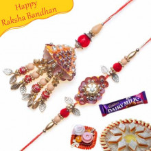 Copper Leaf Cone Shapped Bhaiya Bhabhi Rakhi