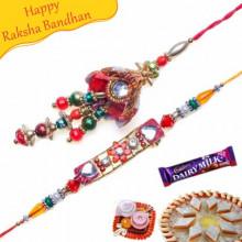 Kundan Color Beads Bhaiya Bhabhi Rakhi