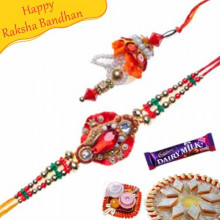 Red Crystal Diamond Beads Bhaiya Bhabhi Rakhi