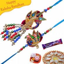 Colorfull Beads Velvet Peacock Bhaiya Bhabhi Rakhi
