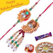 Buy Wooden Beads Bhaiya Bhabhi Rakhi Online on Rakshabandhan with India, worldwide delivery options