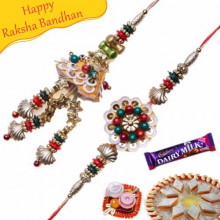 Multi Color Floral, Cone Shape Bhaiya Bhabhi Rakhi
