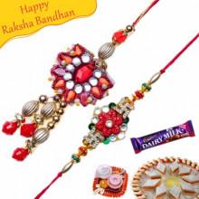 Kundan Beads Bhaiya Bhabhi Rakhi