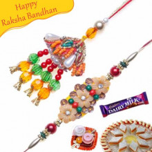Colorfull Beads Wooden Flower Bhaiya Bhabhi Rakhi
