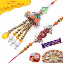 Cone Shape Om Beads Bhaiya Bhabhi Rakhi