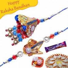 Cone Shaped Handcrafted Color Beads Bhaiya Bhabhi Rakhi