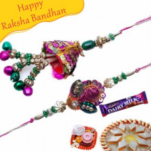 Handcrafted Gold, Green Beads Bhaiya Bhabhi Rakhi