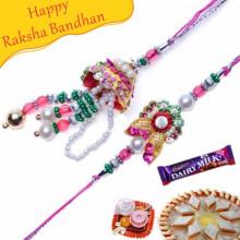 Pearls, Multicolor Beads Bhaiya Bhabhi Rakhi