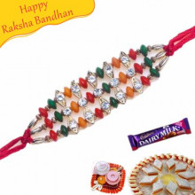 Multicolur Diamond Bracelet Rakhi
