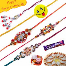 Wooden Bead and Stones, Diamond  Five Pieces Rakhi Set