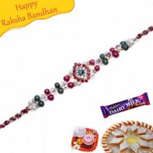 Multicolour Pearls Bracelet Rakhi