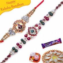 Ganesh Diamond Sandalwood rakhi and Heavy Diamond Rakhi