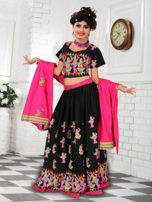 Black & Pink Cotton Chaniya Choli For Navratri 2016 - Buy Online