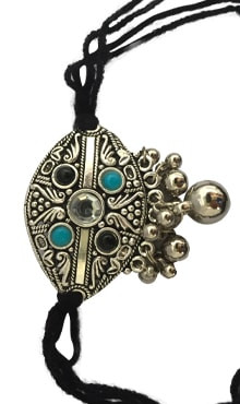Oxidized Bajubandh with Blue Pearl (Small)