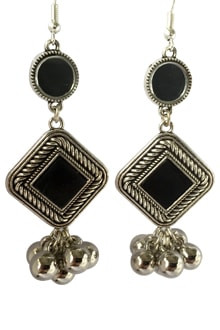 Oxidized Long Earings with Black Stone & Ghughari