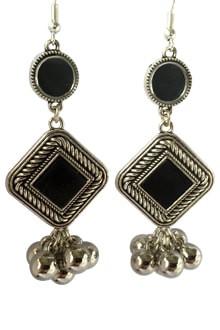 Oxidized Long Earings with Black Stone & Ghughari