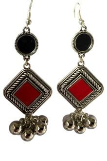 Oxidized Long Earings with Red Stone & Ghughari