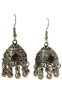 Oxidized Joomkha with Multicolor Stones & Ghughri