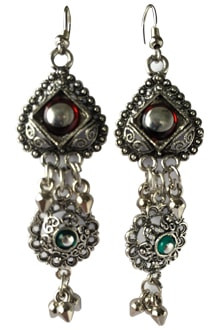 Multicolor Long Oxidized Joomkha Earing