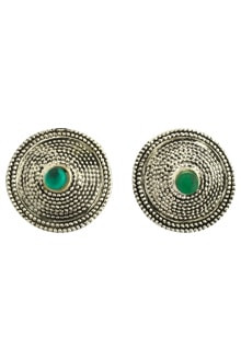 Earing Oxidized Top with Green Pearl