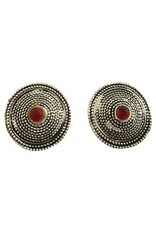 Earing Oxidized Top with Red Pearl