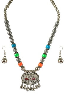 Multicolor Oxidized set, Pendant with Red  Stone