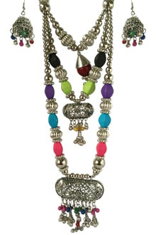 Multicolor Oxidized Western Long set,  Pendant with Ghughari