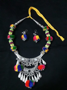 Rabari Style Oxodized Colorful Necklace with Earings