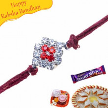 Sober American Diamond Thread Rakhi