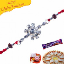 Floral American Diamond Beads Rakhi