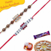 Pearl Diamond and american Diamond Rakhi