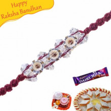 Wooden Beads Crystal And Diamond Rakhi