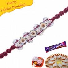 Wooden Beads Crystal And Diamond Rakhi