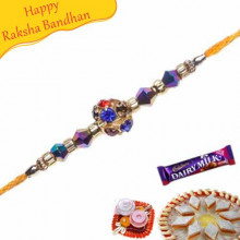 American Diamond Center Ball With Beads Rakhi