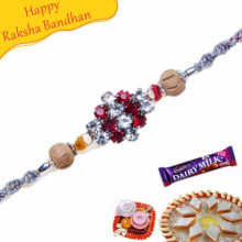 American Diamond With Wooden Beads Diamond Rakhi